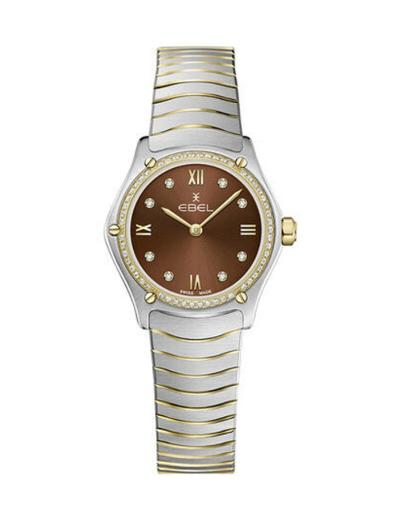 Ebel Women's Sport Classic Mini Brown Dial Two Tone Stainless Steel Watch. 1216443A