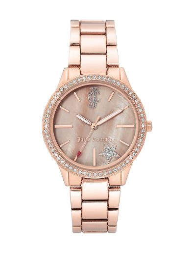 Juicy Couture Women's Trend Pink Dial Rose Gold Stainless Steel Watch. JC1096BMRG