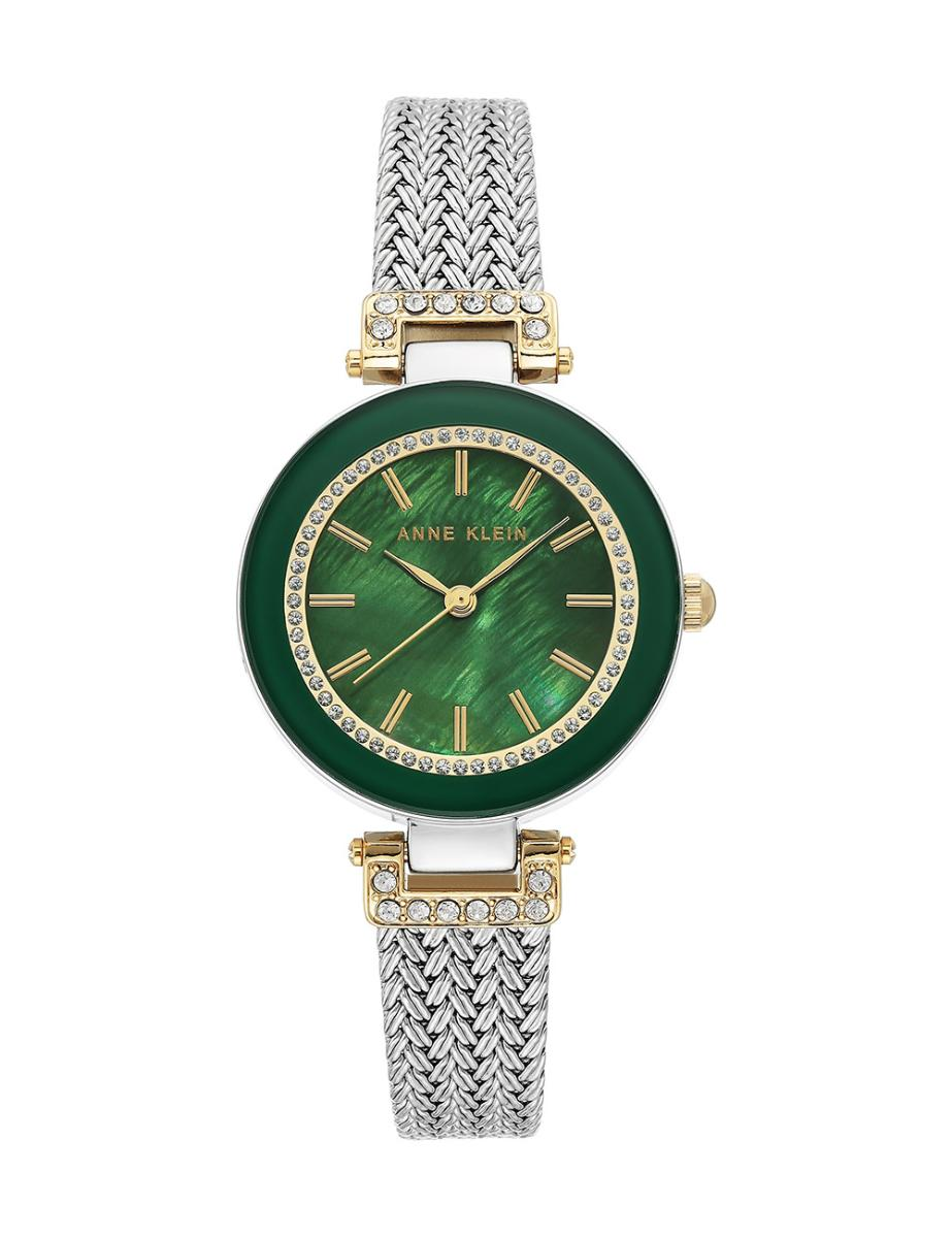 Anne Klein  Women's Crystal Metal Green Dial Brown Stainless Steel Watch.  AK1907GNTT