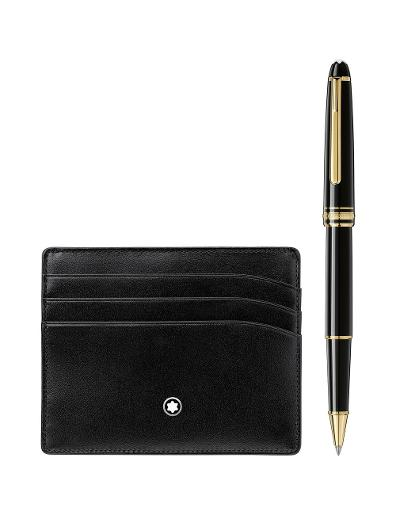 Montblanc Gift Set with Meisterstuck Gold line Classique Rollerball and pocket holder 6cc 123752