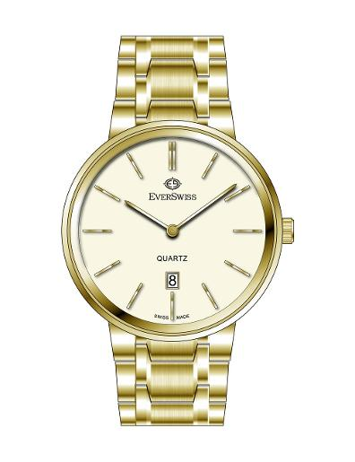 Everswiss Men's Metal Solid Band Pair Ivory Dial Yellow Gold Plated Stainless Steel Watch. 9744-GGI