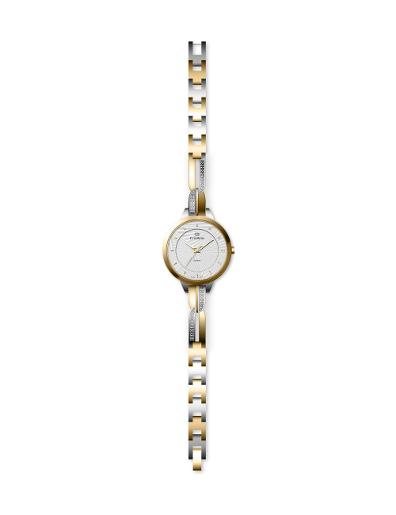 Everswiss Women's Ladies Fancy  White Dial Stainless Steel with Yellow Gold colour plated Brass Watch. 2804-LTW