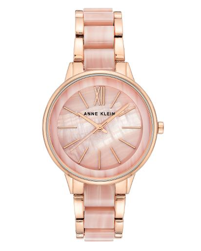 Anne Klein Women's Trend Light Pink mother of pearl Dial nickel compliant rosegold with light pink marble acrylic Metal Watch. AK1412PKRG