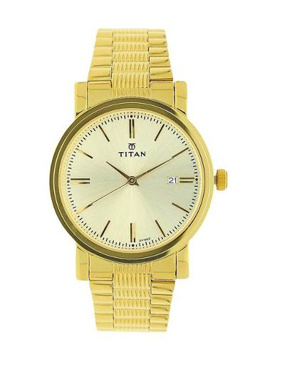 Titan Champagne Dial Stainless Steel Strap Watch T1712YM03