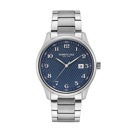 KENNETH COLE Men's Classic Blue Dial Silver Stainless Steel Watch. KC50841002