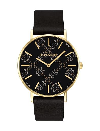 Coach Women's Perry Black Dial Black Leather Watch. 14503440