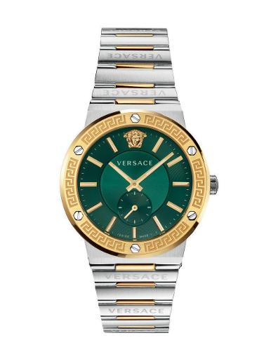 Versace Men's GRECA LOGO Green Dial Silver stainless steel Watch. VEVI00420