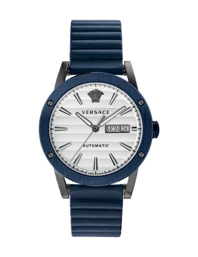 Versace Men's THEROS AUTOMATIC White Dial Blue leather Watch. VEDX00319