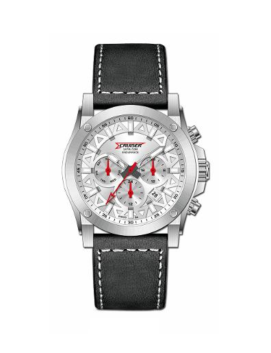Cruiser Men's Leather Multifunction Silver Dial Watch. C7296-GZSS