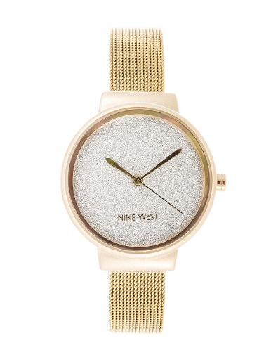 Nine West Women's Trend Gold Dial Gold Stainless Steel Watch. NW2396SVGP