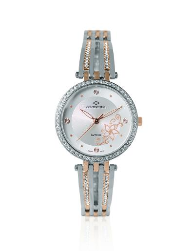 Continental Women's Classic Silver Dial Bicolor ( Rose Gold / Steel) Metal Watch. 18002-LT815101