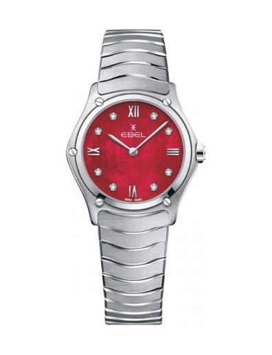 Ebel Women's Sport Classic Red Mother of Pearl Dial Silver Stainless Steel Watch. 1216487A