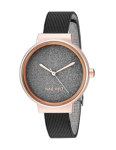 Nine West Women's Trend Black Dial Black Stainless Steel Watch. NW2397BKRT