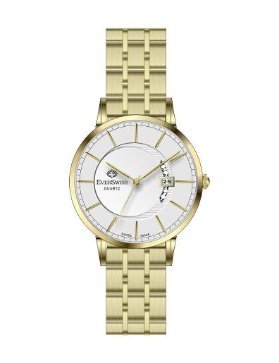 Everswiss Men's Metal Solid Band Pair Silver Dial Yellow Gold Plated Stainless Steel Watch. 9749-GGS