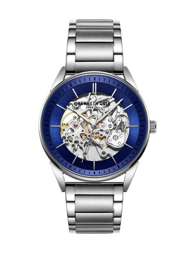 Kenneth cole Men's Automatic Blue Dial Silver Leather Watch. KC51016001