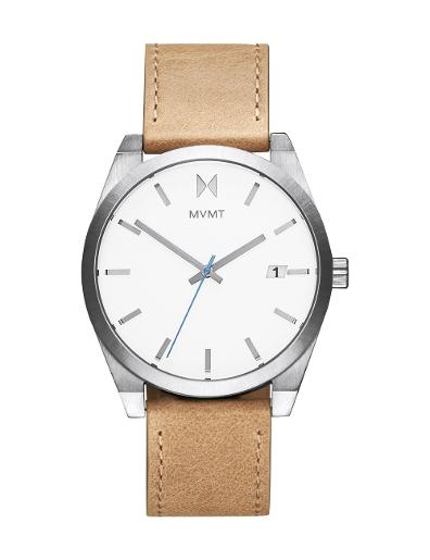 MVMT MEN's ELEMENT White Dial Brown Leather Watch. 28000040-D