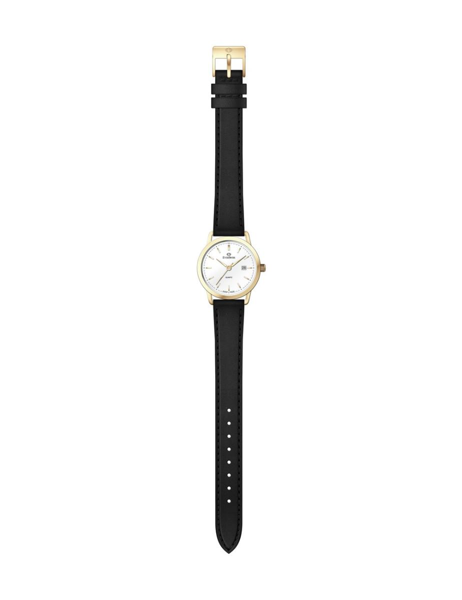 Everswiss  Women's Leather Pair White Dial Black Leather Watch.  1698-LLW