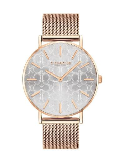 Coach Women's Perry Silver Dial Rosegold Stainless Steel Watch. 14503386