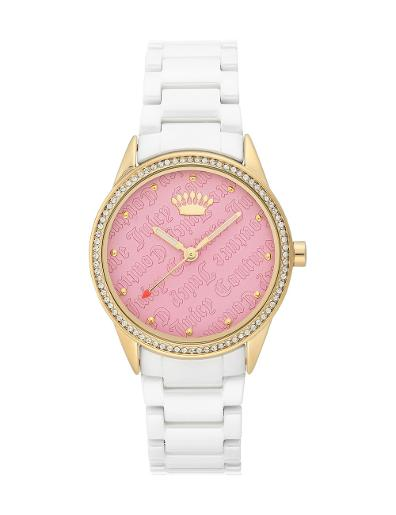 Juicy Couture Women's Ceramic Pink Dial White Ceramic Watch. JC1172PKWT