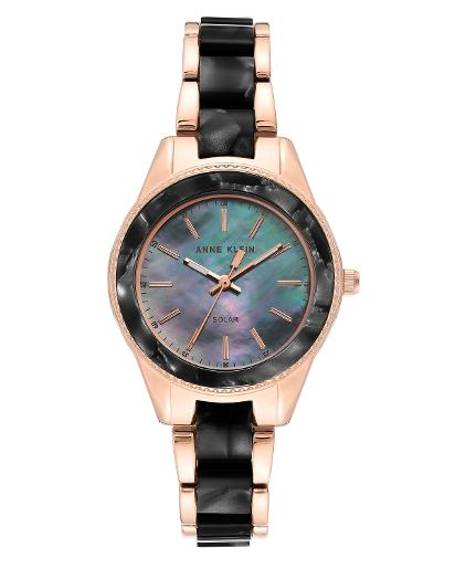 Anne Klein Women's CONSIDERED Black mother of pearl Dial Nickel compliant rose gold with black marble petroleum free plastic Plastic Watch. AK3770BKRG