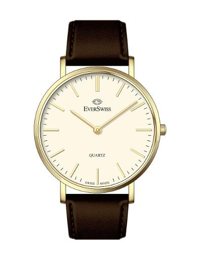 Everswiss Women's Leather Pair Ivory Dial Brown Leather Watch. 4330-LLI