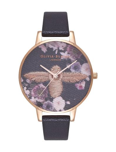 Olivia Burton Women's Embroidered Dial Black & Rose Gold OB16EM02