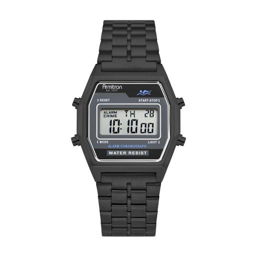 ARMITRON Men's The Rubik Digital Dial Black Stainless Steel Watch. 408474BKTI