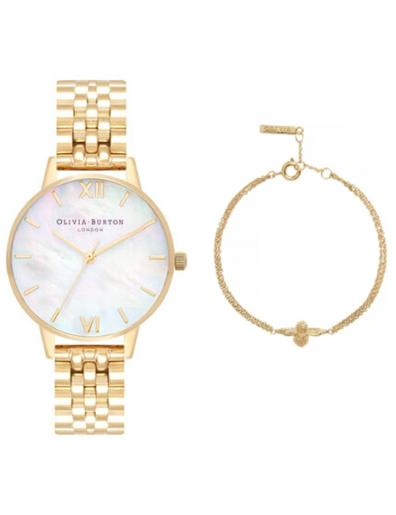 Olivia burton Women's Gift Set Mother of Pearl Dial Gold Stainless Steel Watch. OB Set 1