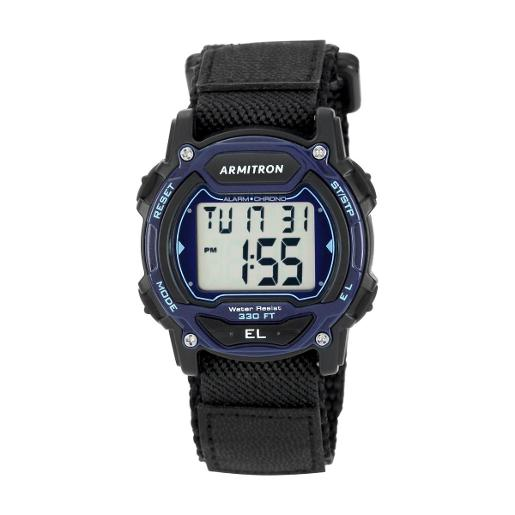 ARMITRON Men's CPU Chrono Digital Dial Black Silicon Watch. 457004BLU