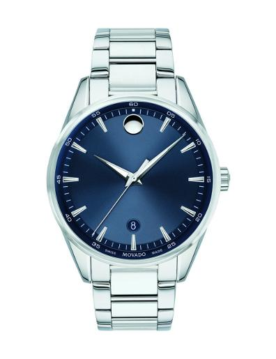 Movado Men's Stratus Blue Dial Silver Bracelet Watch. 607244