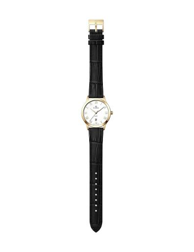 Everswiss Women's Leather Pair Silver Dial Black Leather Watch. 1701-LLS