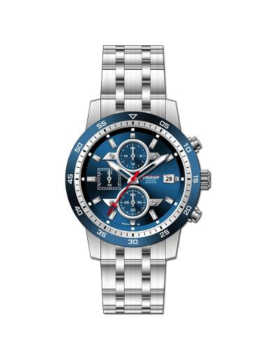 Cruiser Men's Metal Chronograph Blue Dial Watch. C7347-GSUUC