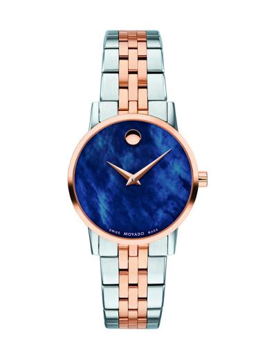 Movado Women's Museum Classic Blue Mother of Pearl Dial 2 Tone Bracelet Watch. 607268