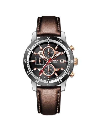 Cruiser Men's Leather Chrono Black Dial Watch. C7347-GXBBC