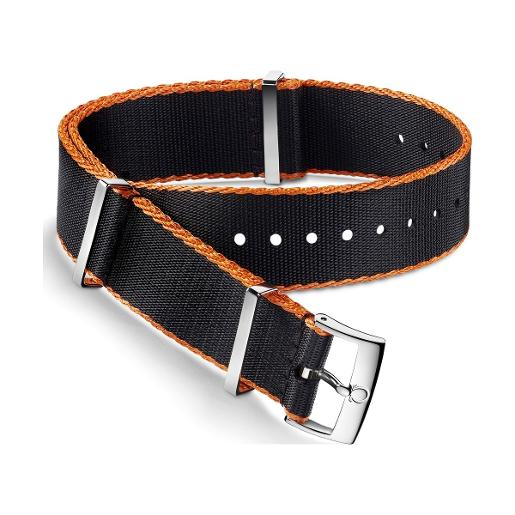 OMEGA Polyamide black strap, orange-bordered. Size: 19-20 MM 031ZSZ002046