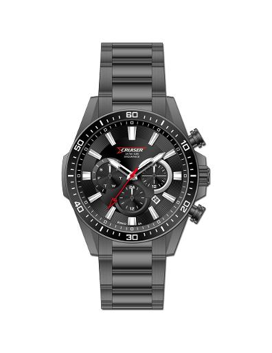 Cruiser Men's Metal Multifunction Black Dial Watch. C7295-GBKBB