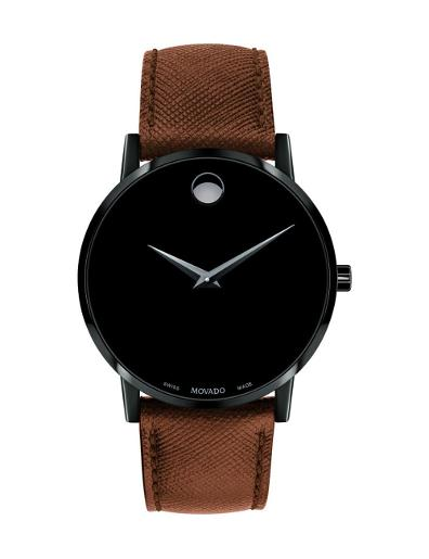 Movado Men's Museum Classic Black Dial Brown Strap Watch. 607198