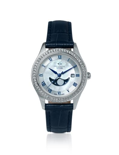 Continental Women's SPECIAL- SS LEATHER Silver/ MOP Dial Blue Leather Watch. 16105-LM158511
