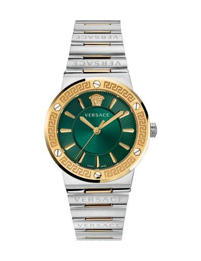 Versace Women's GRECA LOGO Green Dial Silver stainless steel Watch. VEVH00720