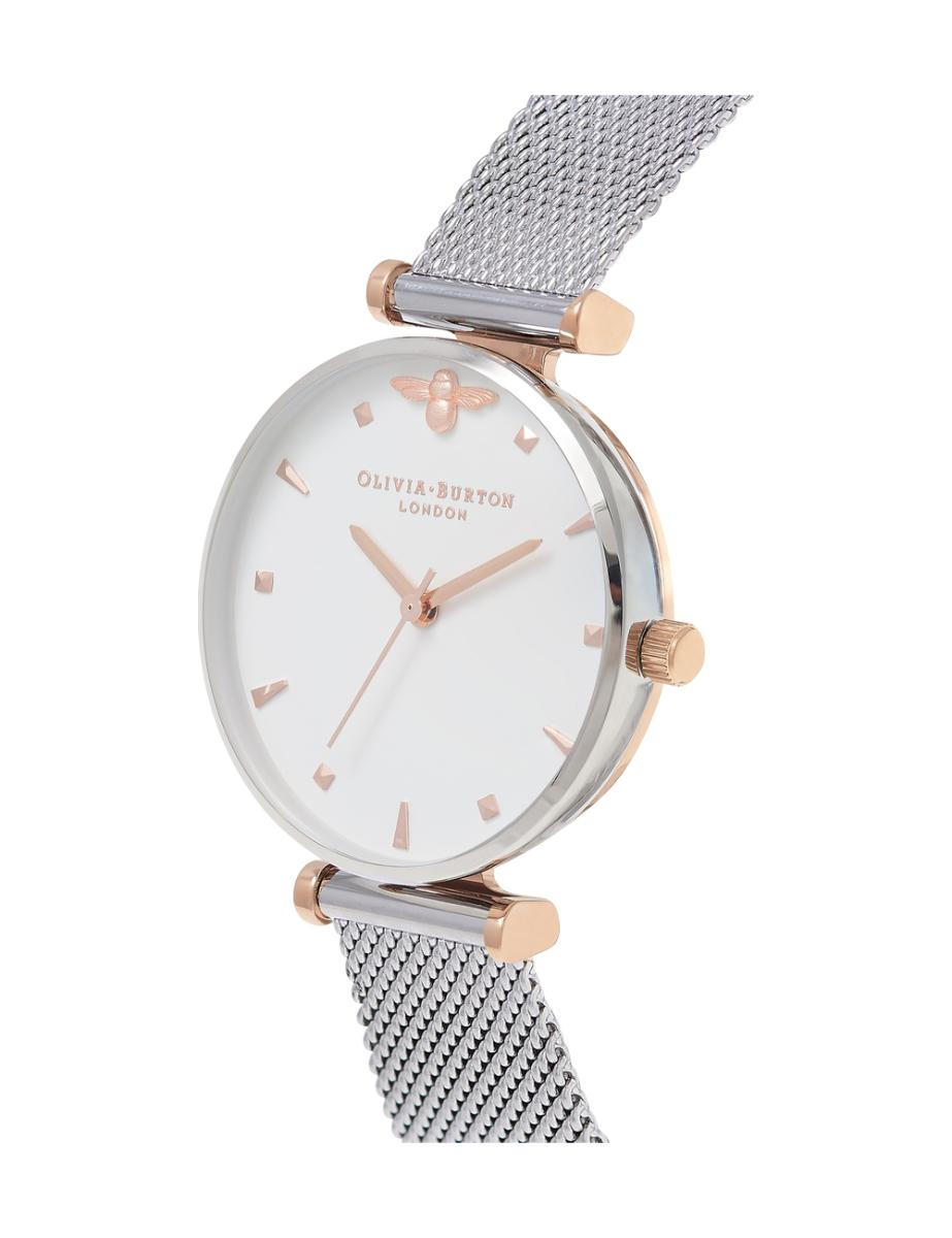 Olivia Burton  Women's Queen Bee Rose Gold & Silver Mesh  OB16AM140