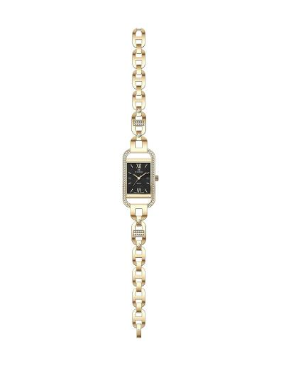 Everswiss Women's Ladies Fancy  Black Dial Yellow Gold Plated Stainless Steel Watch. 1697-LGBS