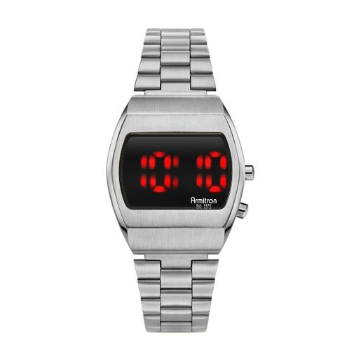 ARMITRON Men's The Griffy Digital Dial Silver Stainless Steel Watch. 408475BRSV