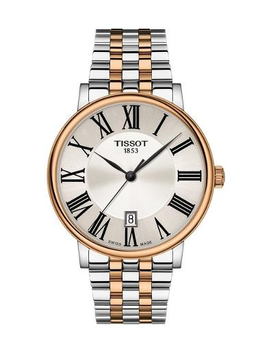 Tissot  Men's Classic SILVER Dial Grey Rose Gold Stainless steel Watch.  T122.410.22.033.00