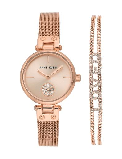 Anne Klein Women's Gift Set Rosegold Dial Rosegold Stainless Steel Watch. AK3552RGST