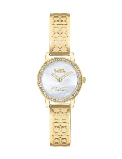 Coach Women's Audrey White Dial Gold Stainless Steel Watch. 14503497