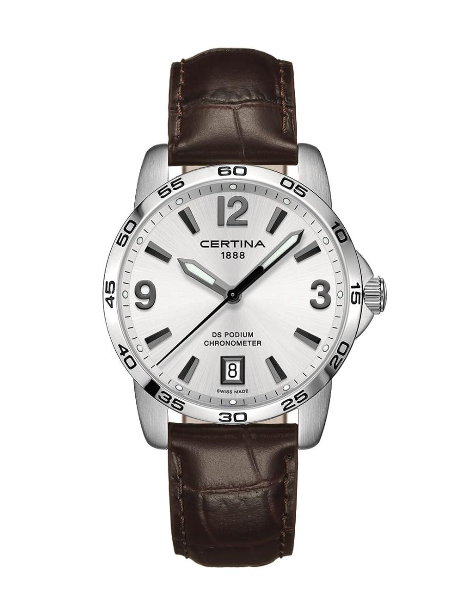 Certina  Men's DS Podium Silver Dial Brown Leather Watch.  C034.451.16.037.00