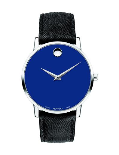 Movado Men's Museum Classic Blue Dial Black Strap Watch. 607197