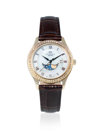 Continental Women's SPECIAL- GP LEATHER Silver/ MOP Dial Brown Leather Watch. 16105-LM256511