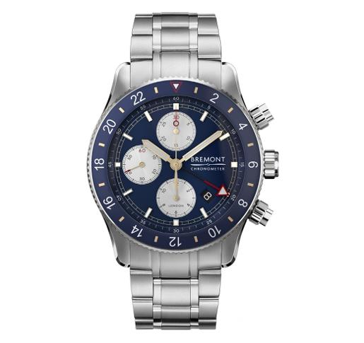 Bremont Mens SUPER MARINE Blue Dial Silver Stainless Steel Watch. SUPERMARINECHRONO-BL-B