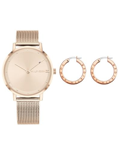Tommy Hilfiger Women's Gift Set Rose Gold Dial Rose Gold Stainless Steel Watch. Tommy Set 1